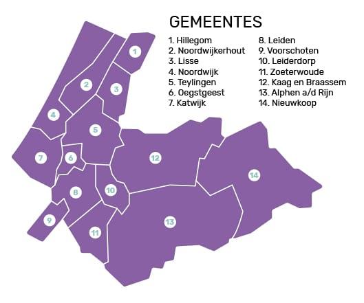 Kaart met verzorgingsgebieden